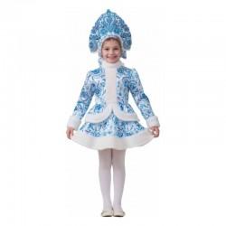 Карнавальный костюм Снегурочка Гжель текстиль Батик р34