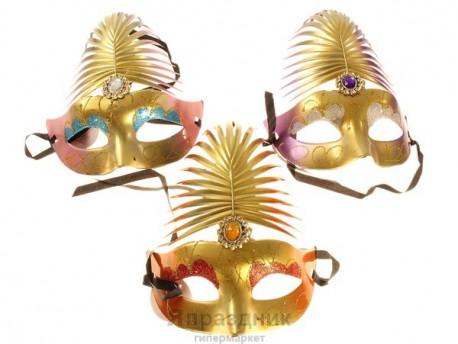 Карнавал маска перо павлина с камнем