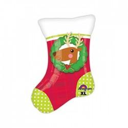 Шар фольгированный Рождественский носок 48см
