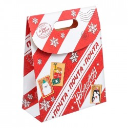 Пакет подарочный «Почта Новогодняя», 26 × 32 × 12 см 3425115