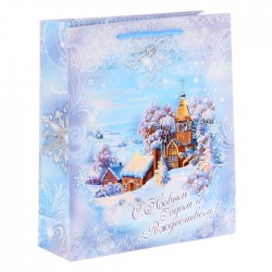 Пакет ламинированный вертикальный «Снежная сказка», 23 × 27 × 8 см 1299745