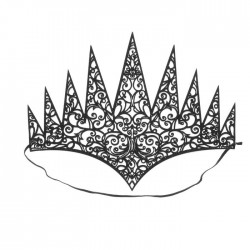 Корона Королева на резинке черная 20×24см