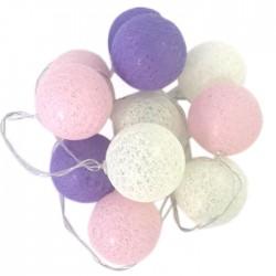 Светодиодная гирлянда Хлопковый шар молочный, розовый и лавандовый 20 шаров 3м