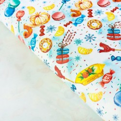 Бумага упаковочная глянцевая Вкусные подарки 70×100см