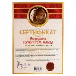 Сертификат президента всемирного банка А4