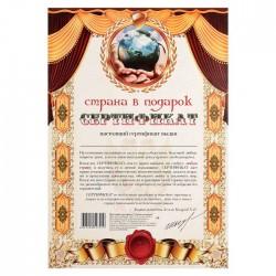 Сертификат на страну в подарок А4