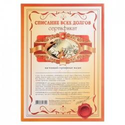 Сертификат на списание всех долгов А4