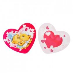 Валентинка С любовью! мишки сердечки 7х6см