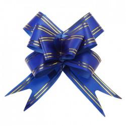 Бант-бабочка золотая полоса и синий 48×3см