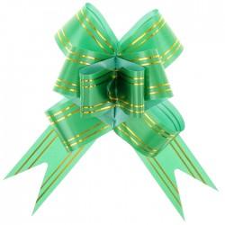 Бант-бабочка золотая и зеленый полоса 48×3см