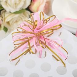 Бант-бабочка органза розово-золотые полосы 45×2,5см