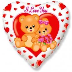 Шар Сердце Влюбленные медвежата 48см