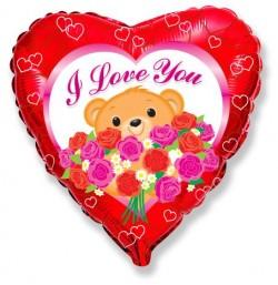 Шар Сердце Мишка с розами 48см