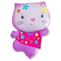 Шар Котенок розовый с цветами 80см 1шт