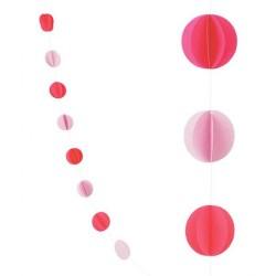 """Гирлянда 2,1 м """"Круги Микс"""" Красный и нежно-розовый / 1 шт. / (Китай)"""