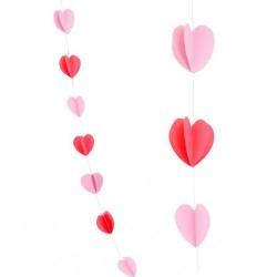 Гирлянда Сердца Микс Красный и нежно-розовый 2,1м