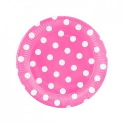 """В Тарелки 18 см """"Горох. Белый на розовом"""" / набор 6 шт. / (Китай)"""