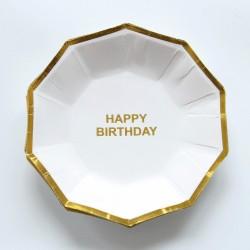Набор тарелок С днем рождения Белые с золотом многогранник 18см 6шт