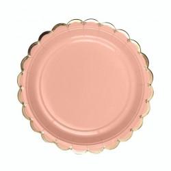 Набор тарелок Пудровые с золотом 18см 6шт