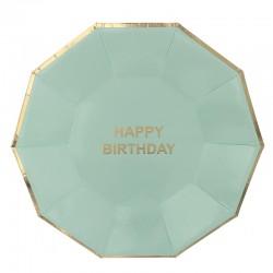 Набор тарелок С днем рождения Мятные с золотом многогранник 6шт