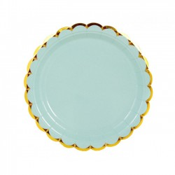 Набор тарелок Мятные с золотом 18см 6шт