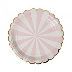 Набор тарелок Полоски Нежно-розовые 18см 6шт