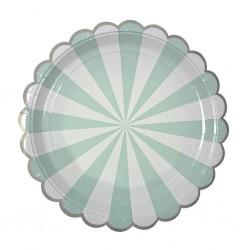 Набор тарелок Полоски Мятные 18см 6шт