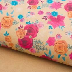 Бумага упаковочная крафтовая «Цветочный декор», 50 × 70 см 2791568
