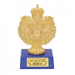 Фигура с символикой РФ Золотой босс синяя 11х6х7см