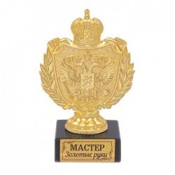 Фигура с символикой РФ Мастер золотые руки черная 12х5х7см