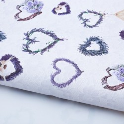 Бумага упаковочная глянцевая Лавандовые сердечки 70х100см