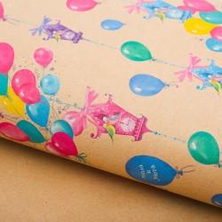 Бумага упаковочная крафтовая Воздушные домики 50×70см