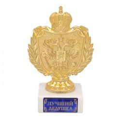 Фигура с символикой РФ Лучший дедушка белая 12х5х8см