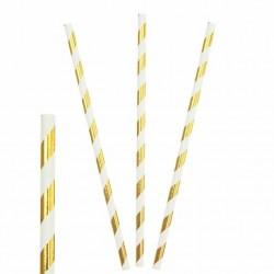 Набор трубочек бумажные Полоски Золотые 20см 25шт