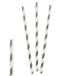Трубочки для коктейля бумажные Полоски Серебряные 20см 25шт