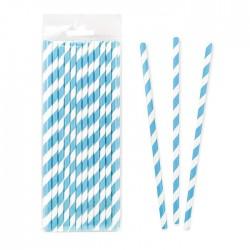 Трубочки бумажные Полоски Синие 20см 25шт