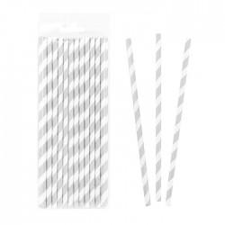 Трубочки бумажные Полоски Серебро 20см 25шт