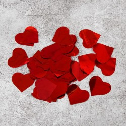 Наполнитель для шара Конфетти сердце фольга красный 500гр 3см