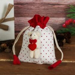"""Мешок для подарков """"Мишка с сердцем"""" с завязками, виды МИКС 1308831"""