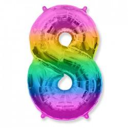 Шар фольгированный Цифра 8 разноцветный 40см