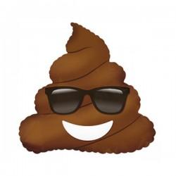 Шар (9''/23 см) Мини-фигура, Смайл Эмоции (Шоколадное мороженое в очках) , Коричневый, 1 шт.