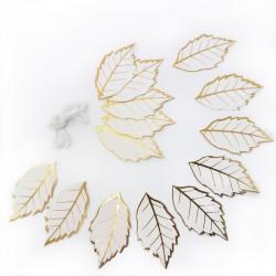 Гирлянда-подвеска Листья Белый с золотом