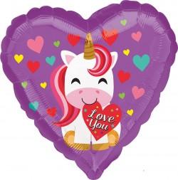 Шар Сердце Единорог Я тебя Люблю 48см