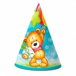 Колпак С Днем рождения Милый Мишка 6шт