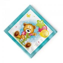 Салфетки С Днем рождения Милый Мишка с подарком 33х33см 12шт