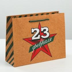 Пакет вертикальный крафтовый «Звезда героя», ML 23 × 27 × 8 см 3639979