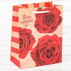 Пакет крафтовый В День Рождения! 23×27×12см