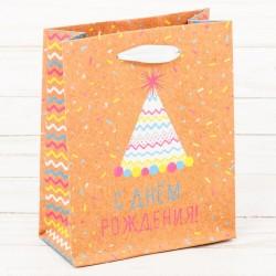 Пакет крафтовый вертикальный «Веселья в день рождения!», S 15 × 12 × 5,5 см 2942153