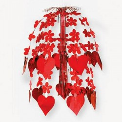 Каскад подвесн Сердца Цветы красн 61см
