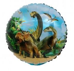 Шар фольгированный круг Динозавры 48см